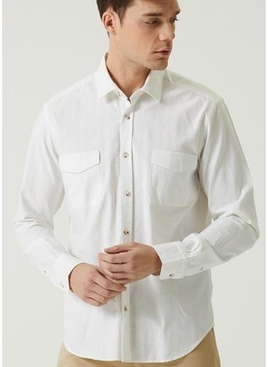 Beymen Club 101597411 Comfort Fit Ingiliz Yaka Dokulu Erkek Gömlek Beyaz